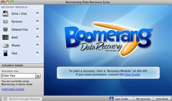 Boomerang Data Recovery Software für Mac