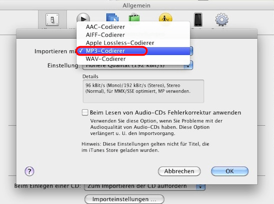 Mit iTunes M4A in MP3 konvertieren