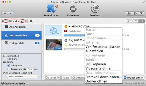 Video Download verwalten