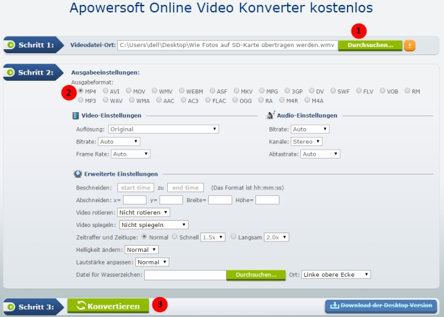 WMV-Dateien online in MP4 umwandeln