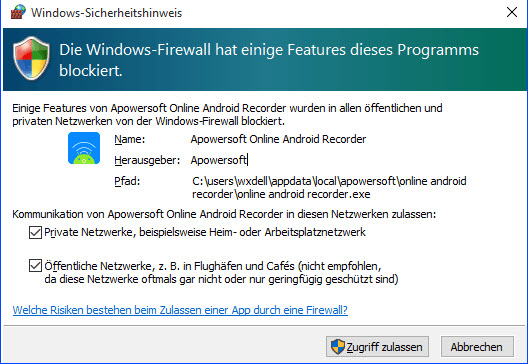 Windows-Sicherheitswarnung